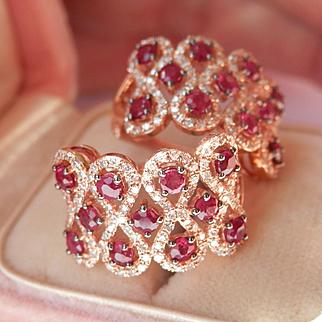 Beautiful 14K Rose Gold Ruby Diamond Earrings