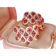 Beautiful 14K Rose Gold Ruby Diamond Earrings