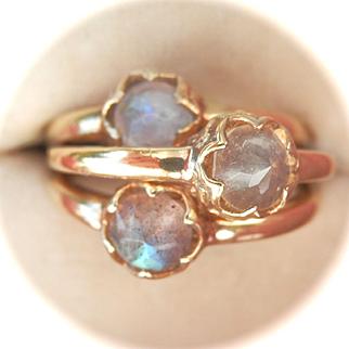 Set of Three Silver Gilt Vermeil) Rose-cut Labradorite Rings