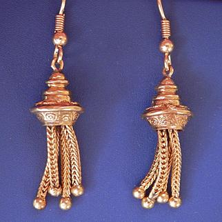 Beautiful Vintage 9K Gold Engraved Tassel Drop Earrings signed Smith & Pepper