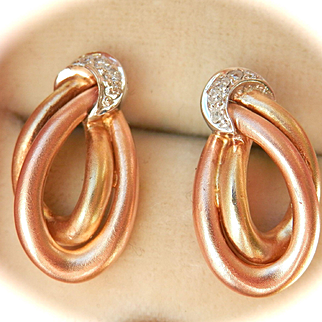 Lovely 14K Tri-Gold Diamond Hoop & Moon Earrings