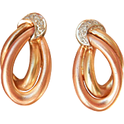 Lovely 14K Tri-Gold Diamond Hoop Moon Earrings