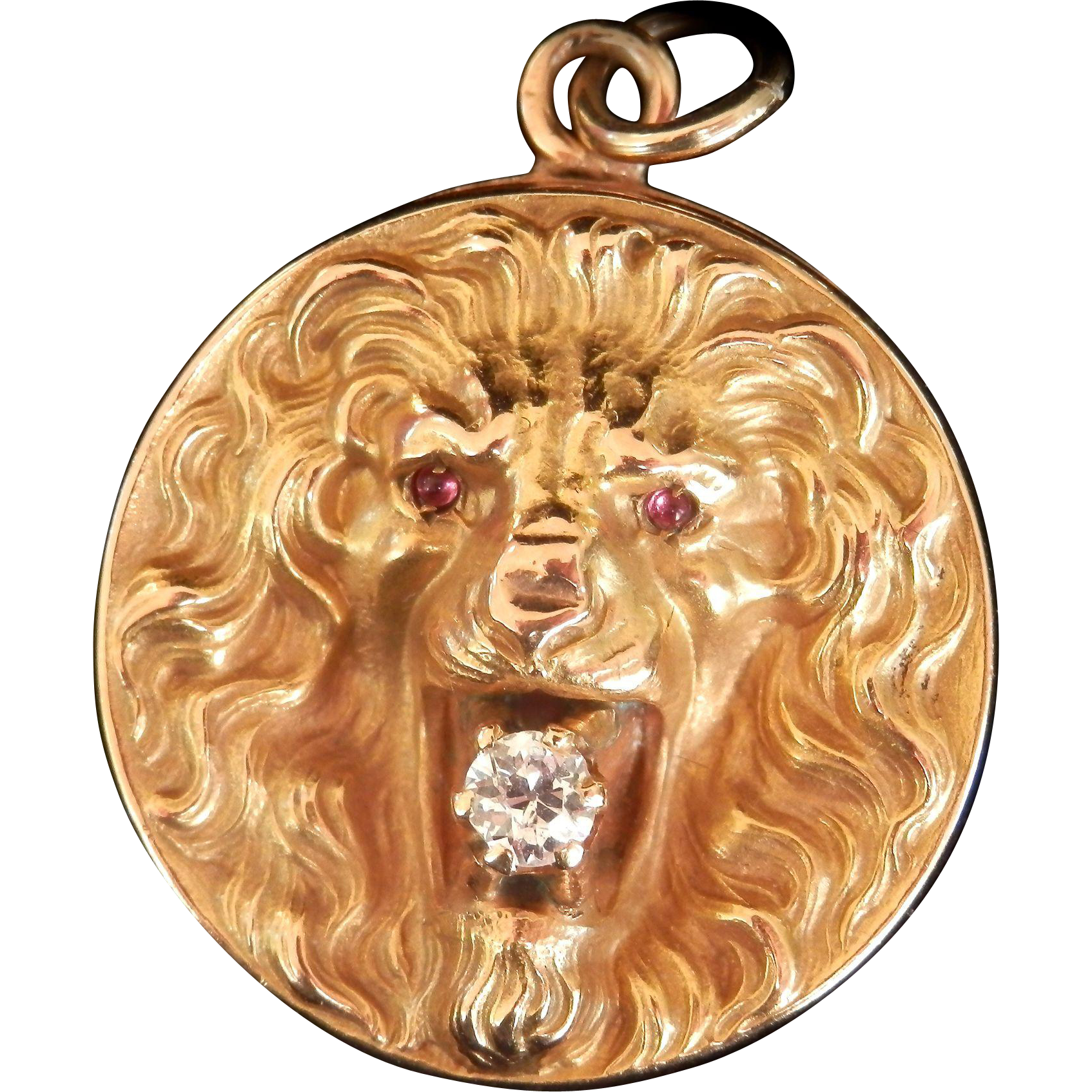 Striking Art Nouveau 10K Y/Gold Lion Diamond Ruby Locket Repoussé Pendant
