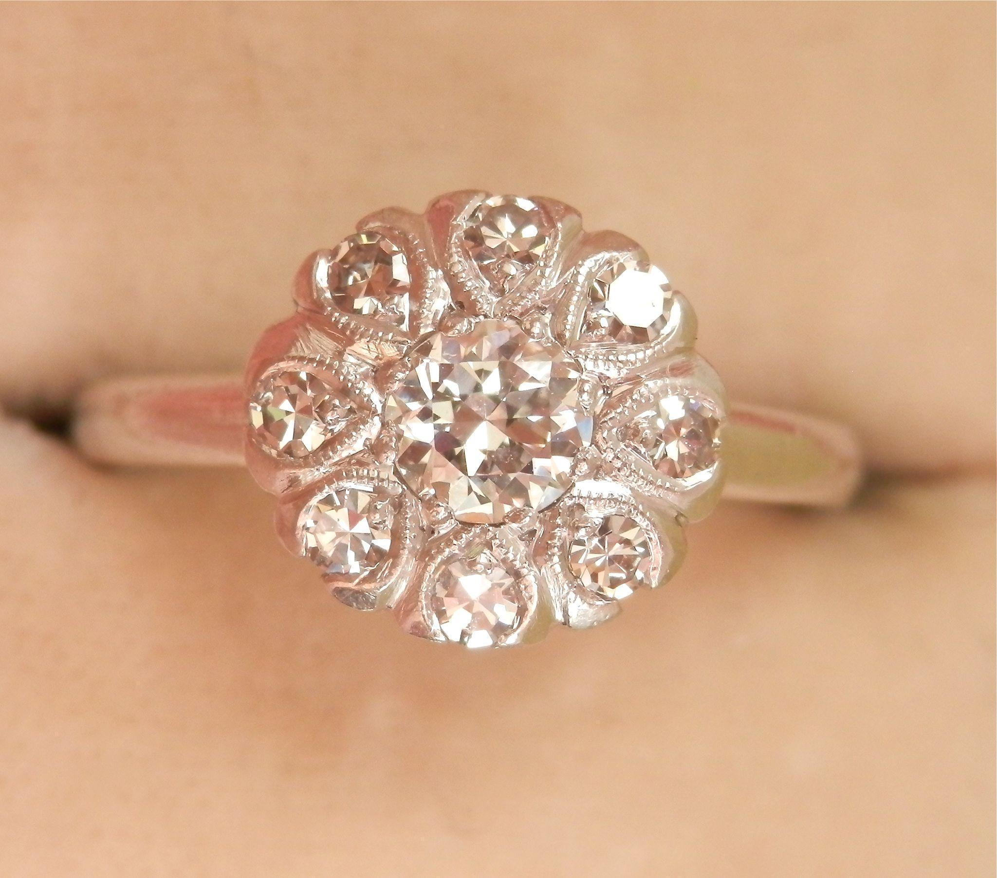Twinkling Art Deco 0.55 ct. Diamond Cluster Platinum Ring