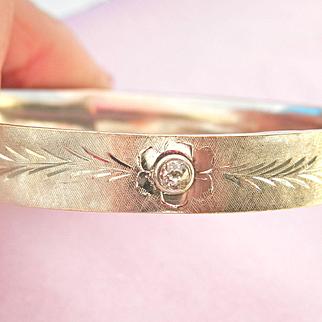 Terrific 14K W/Gold Etched Diamond Hinged Bracelet