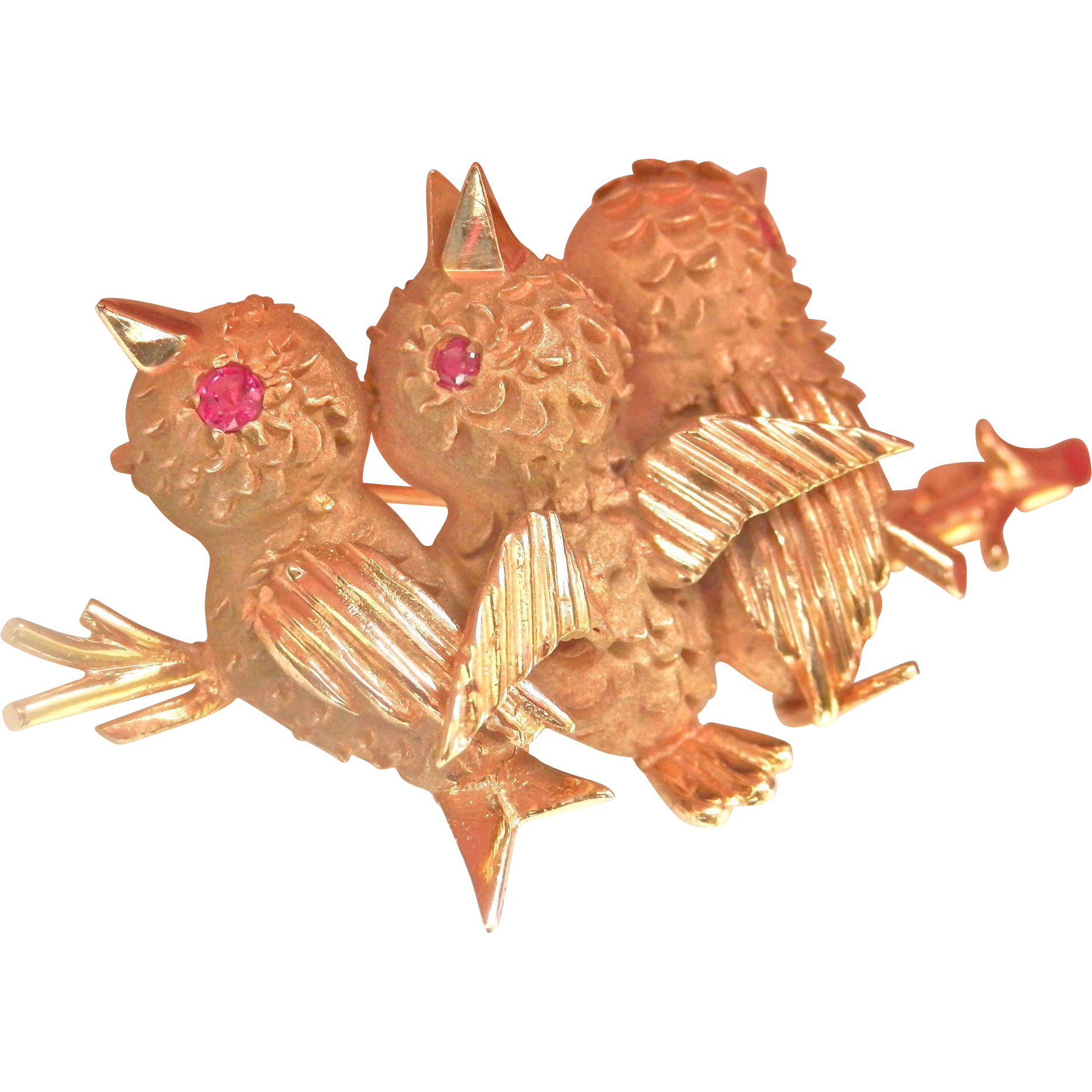 Very Fine Heavy 14K Gold Ruby Baby Birds Vintage Pin~Gorgeous Detailing, Heavy at 11+grams!