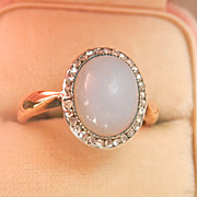 Dreamy Antique 14K Y/Gold Platinum Blue Chalcedony Rose Cut Diamond Ring