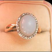 Dreamy Antique 14K Y/Gold Platinum Blue Chalcedony Rose Cut Diamond Ring