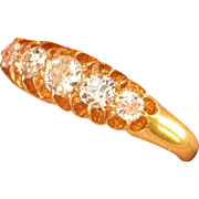 Superb Antique 18K Gold 5-Stone .58 ct. Diamond Ring ~London, 1915