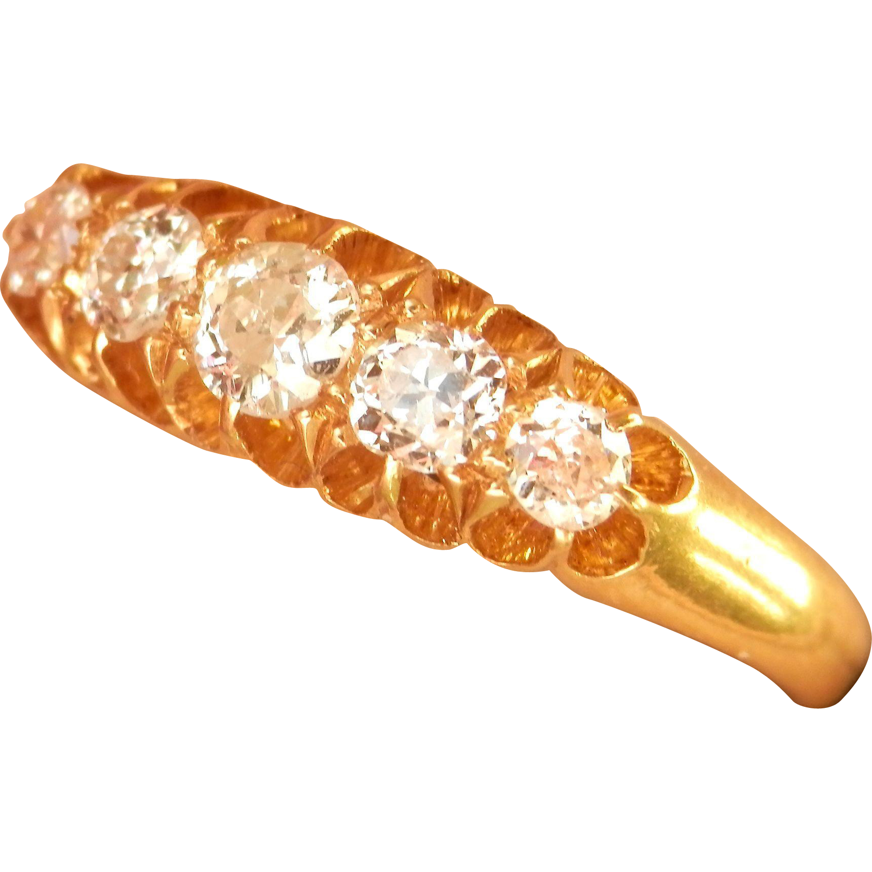 Superb Antique 18K Gold 5-Stone .58 ct. Diamond Ring ~London, 1915