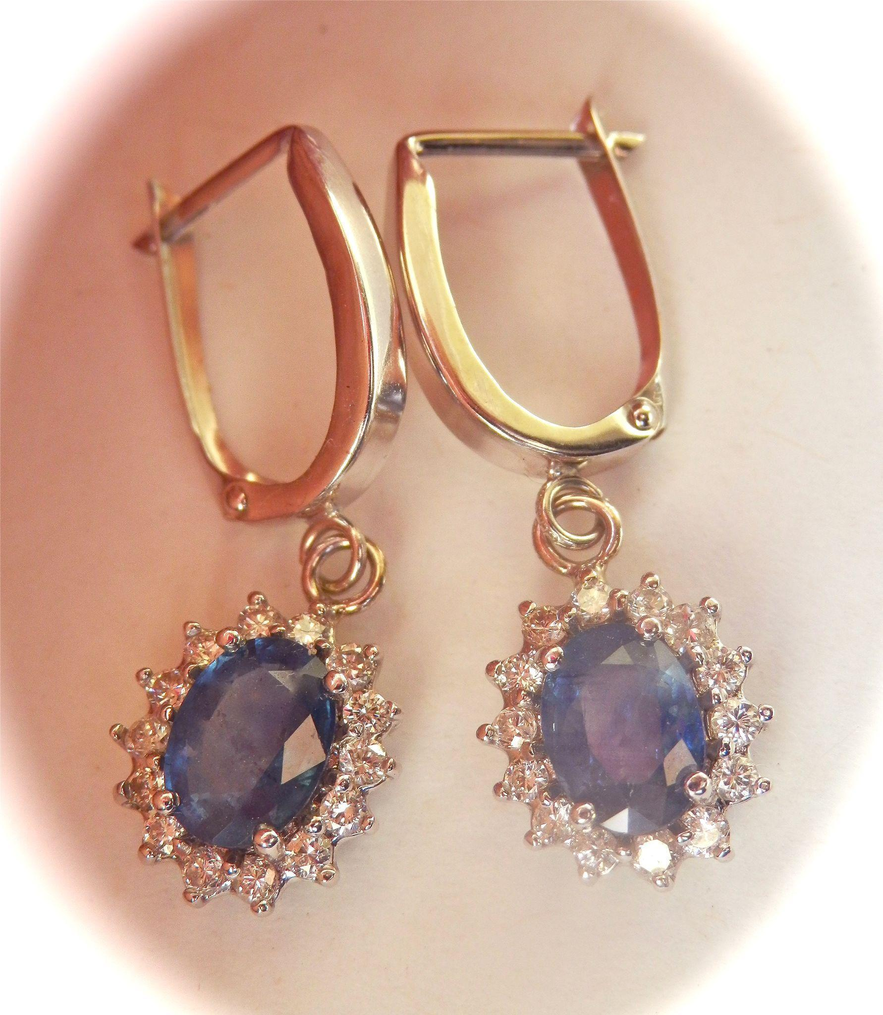 Bold 14K W/Gold 2.50 cts. Natural Blue Sapphire Diamond Drop Earrings