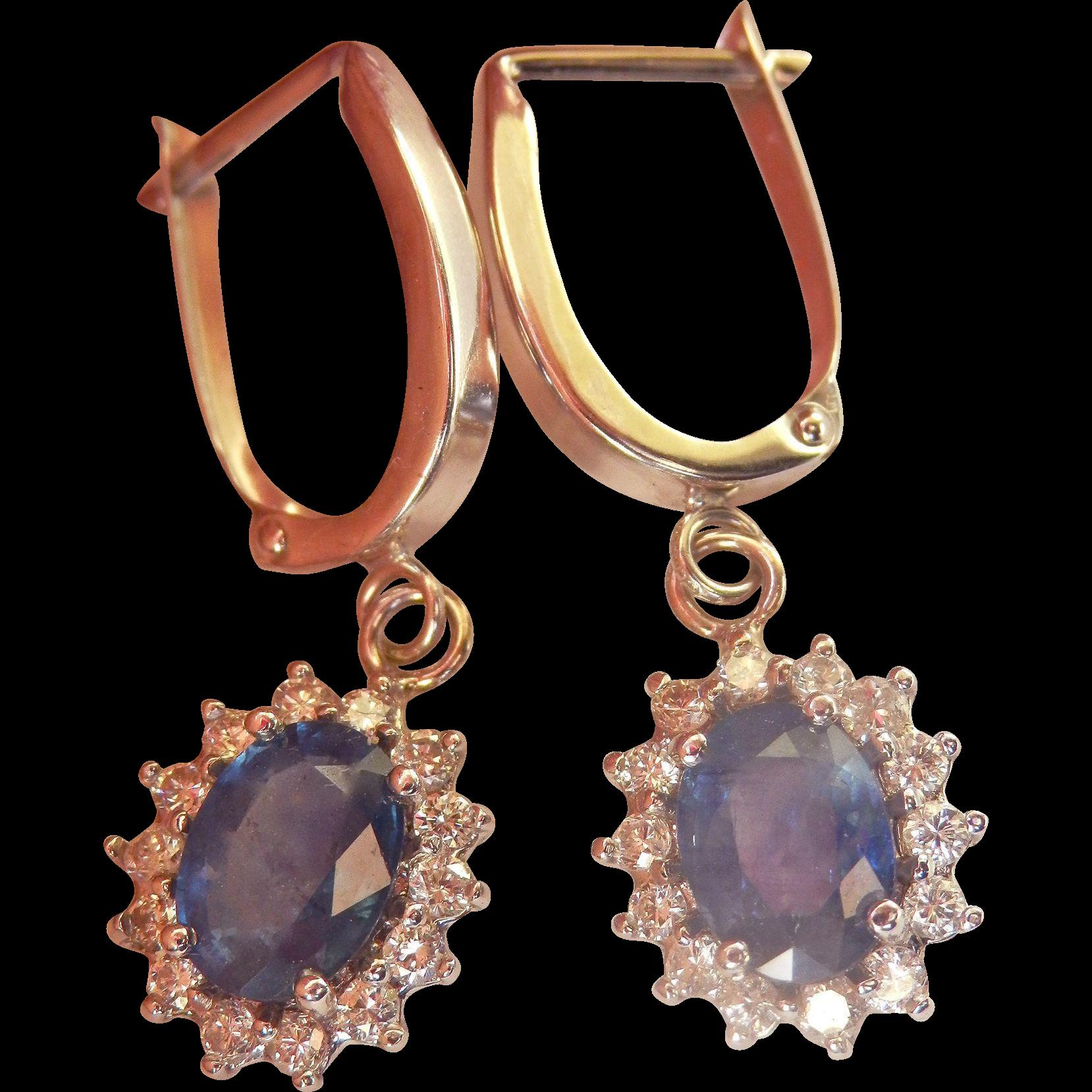Bold 14K W/Gold 2.50 cts. Natural Blue Sapphire Diamond Drop Earrings