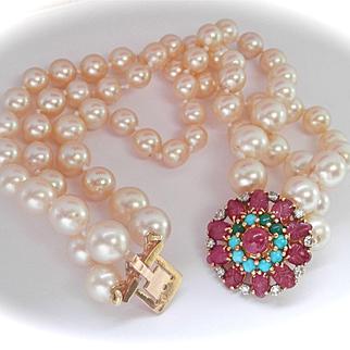 Gorgeous French 18K Gold Ruby, Turquoise, Diamond Triple Strand Pearl Bracelet