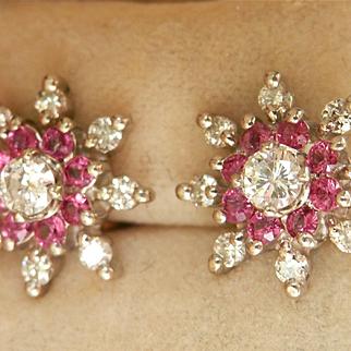 Stunning 14K W/Gold Ruby Diamond Floral Earrings