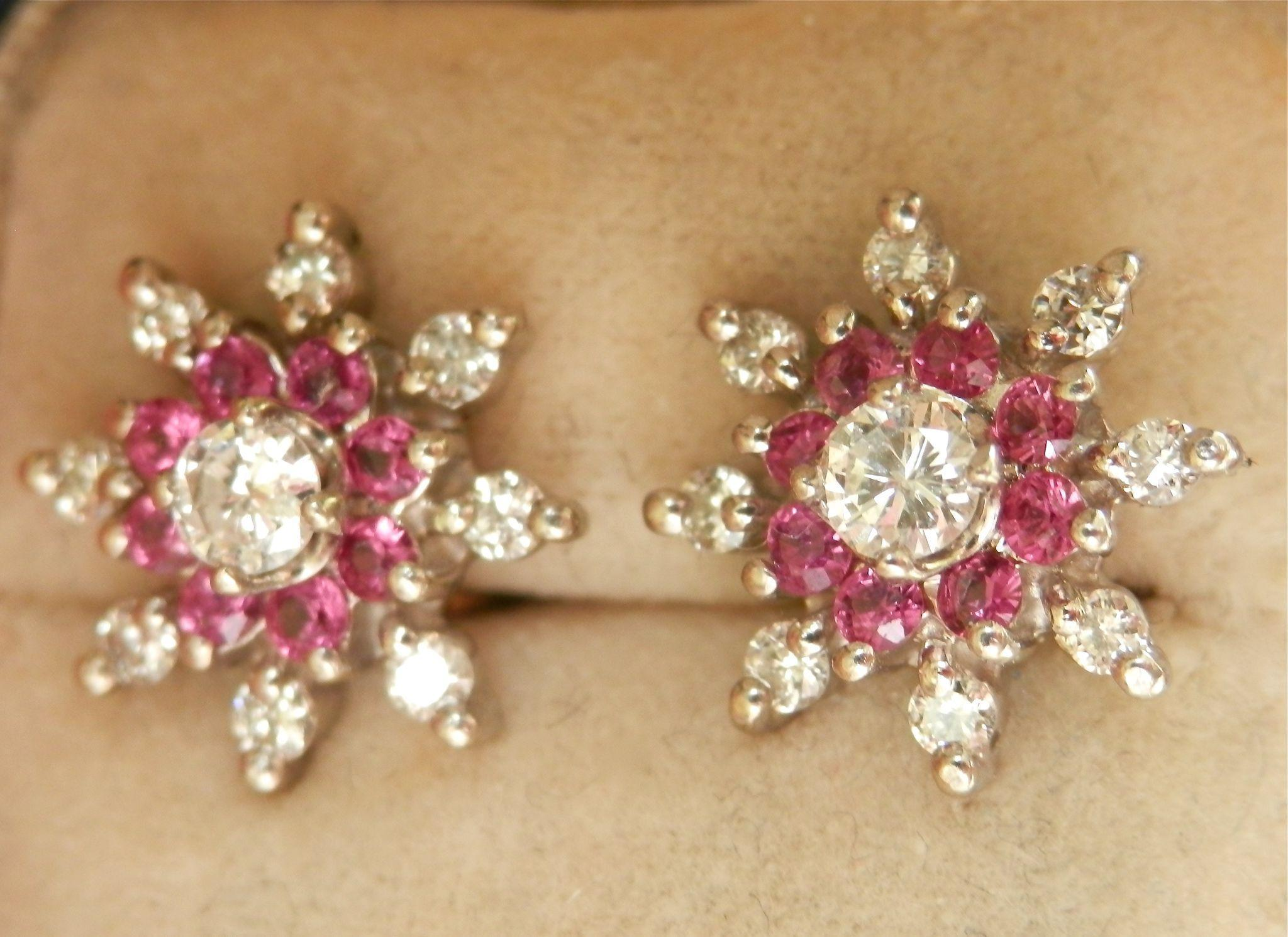 Stunning 14K W/Gold Ruby Diamond Floral Earrings