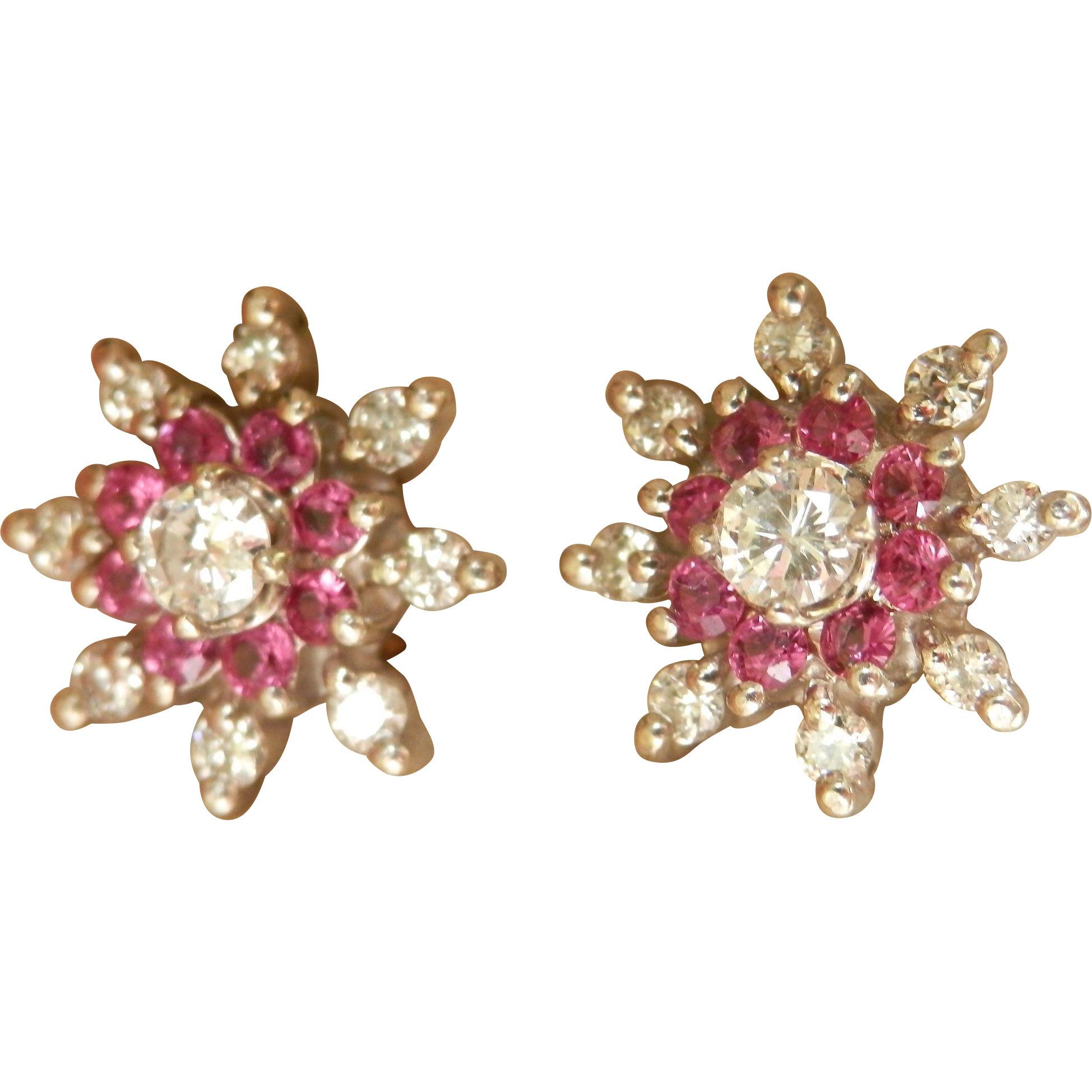 Stunning 14K W/Gold Ruby Diamond Floral Earrings Retro!