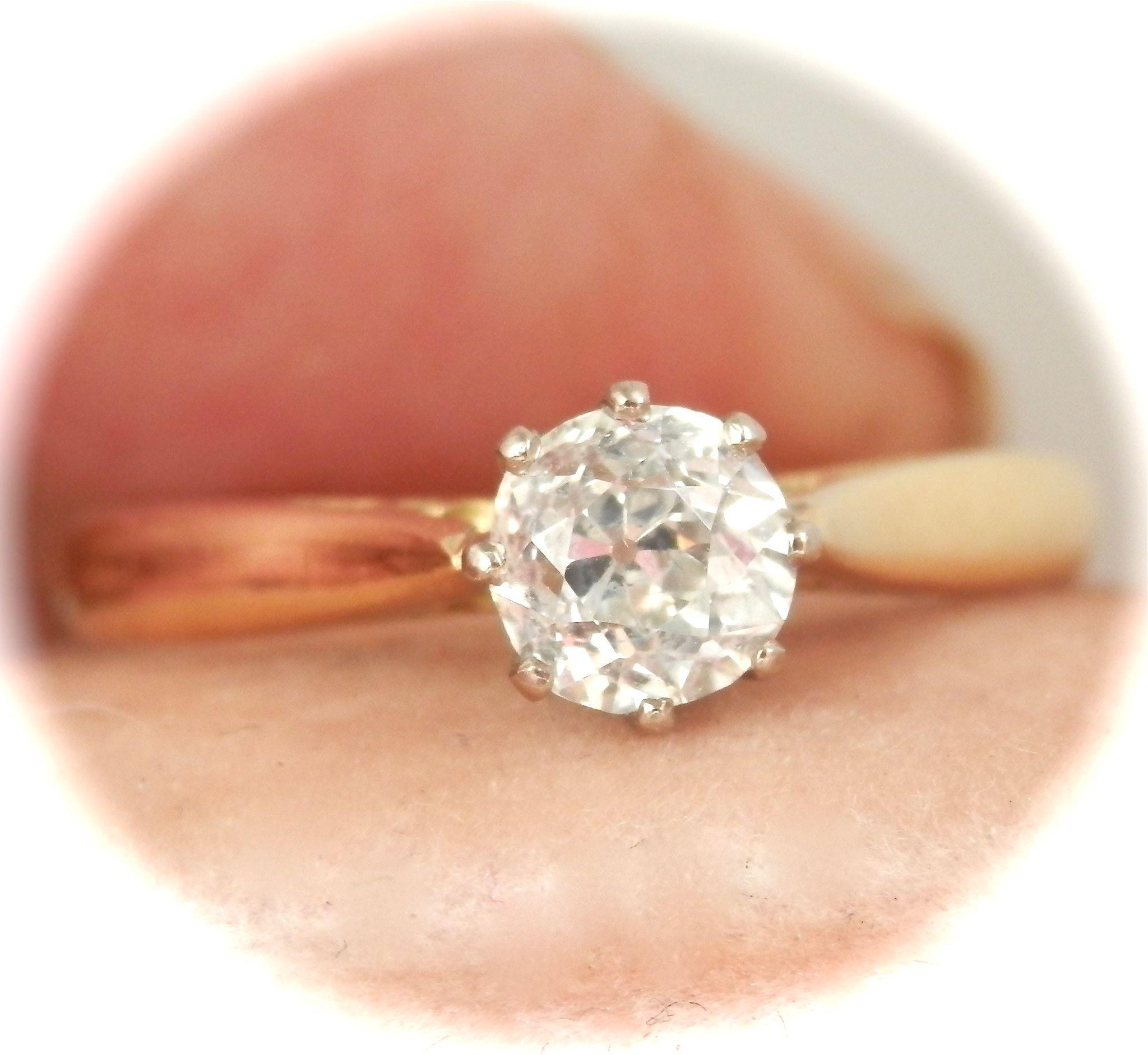 Wonderful English 18K Y/Gold 0.55 ct. Diamond Solitaire Vintage Ring