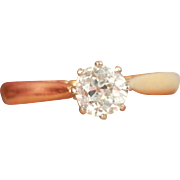 Wonderful English 18K Y/Gold 0.55 ct. Diamond Solitaire Vintage Ring