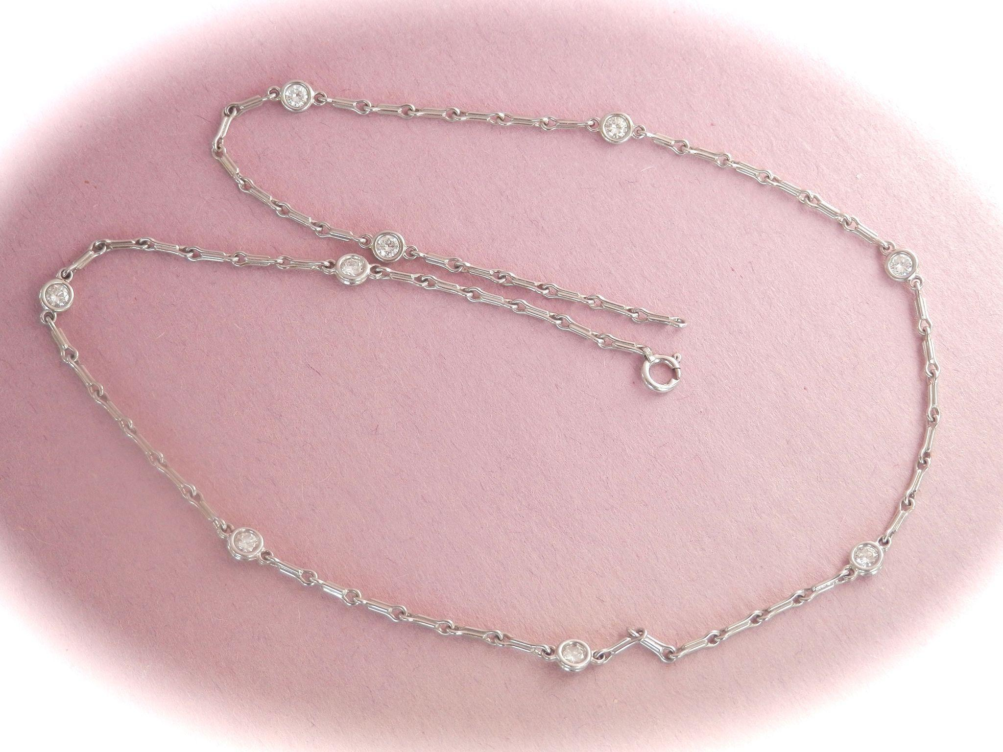 Sparkling Platinum .90 ctw Diamond by-the-yard Station Necklace