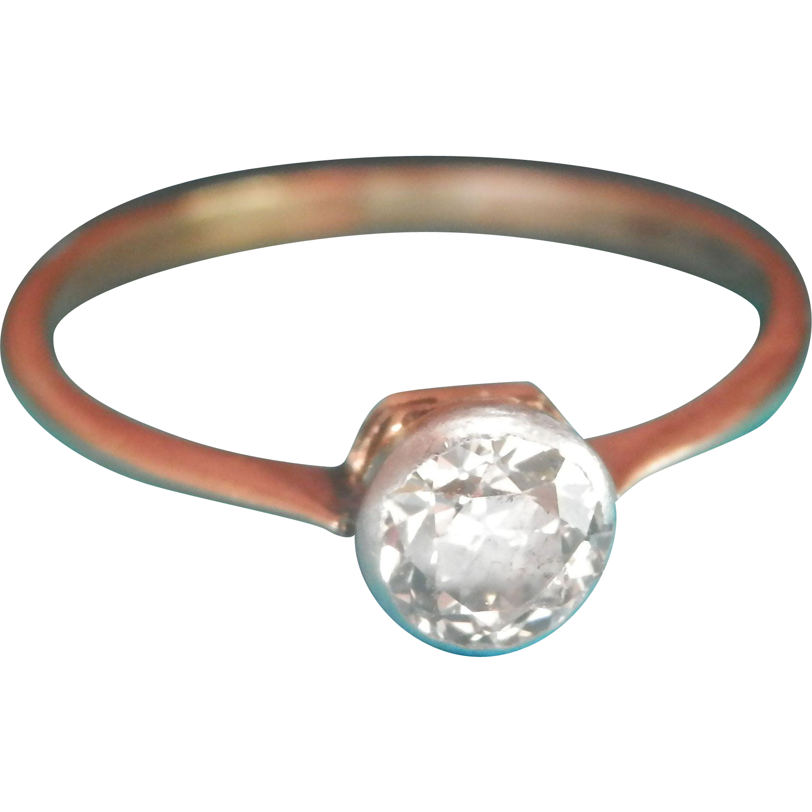 Glittering Antique 18K Gold Platinum 0.45 ct. Diamond Ring
