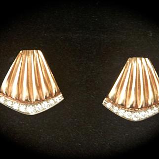 Wonderful Fluted 14K Gold 0.38ct. Diamond Earrings~9.2 grams