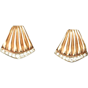 Wonderful Fluted 14K Gold 0.38ct. Diamond Earrings~9.2 grams