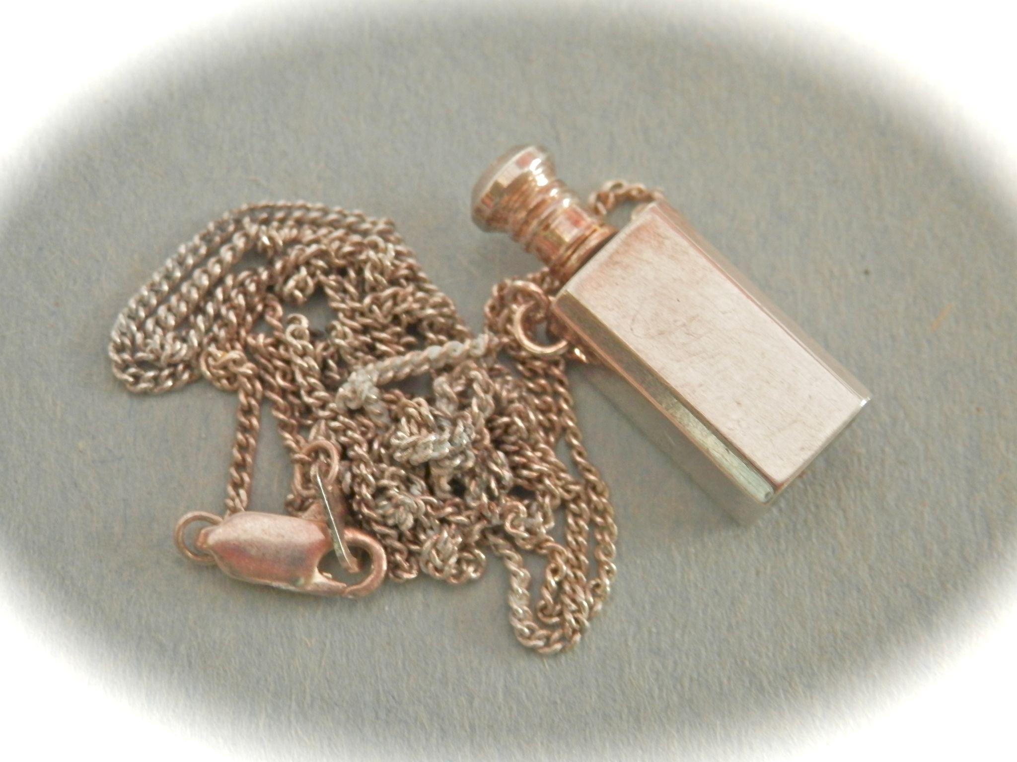Miniature Vintage Sterling Scent Bottle Necklace