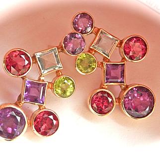 Dramatic 14K Gold Garnet, Amethyst, Peridot, Blue Topaz Large Earrings~10.0 gms.