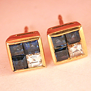 Sparkly 18K Gold Sapphire Diamond Stud Earrings