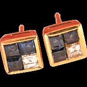 Sparkly 18K Gold Sapphire Diamond Stud Earrings