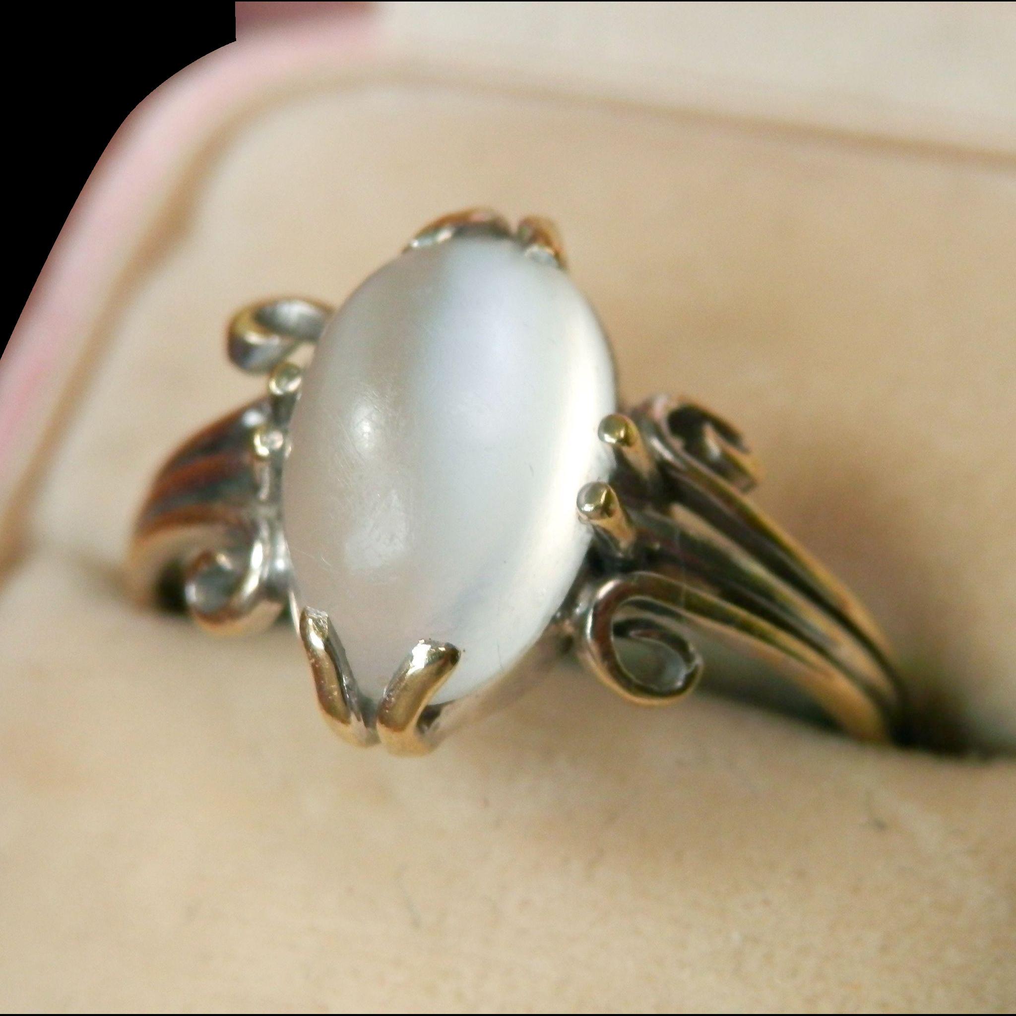 Lovely 18k white gold arts crafts cat 39 s eye moonstone for Cat s eye moonstone jewelry