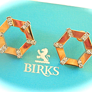 Striking 18K Gold BIRKS Cavelti Diamond Hexagonal Earrings