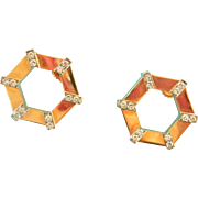 18K Gold BIRKS Cavelti Diamond Hexagonal Earrings