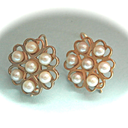 Lovely 9K Gold Vintage Pearl Drop Earrings
