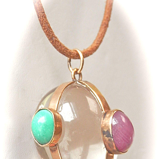 Fabulous 14K Gold Large Rock Crystal, Ruby, Chalcedony Amulet Pendant