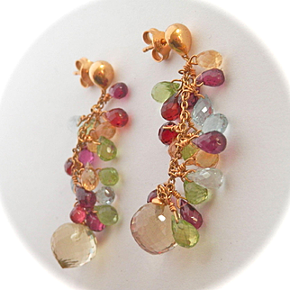 Elegant 18K Gold Briolette-cut Multi-gem Drop Earrings~11.8 gms