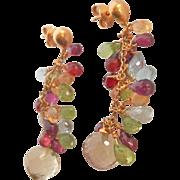 Elegant 18K Gold Briolette-cut Multi-gem Drop Earrings~11.8 gms