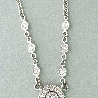 Lovely 18K White Gold Diamond Pendant Necklace
