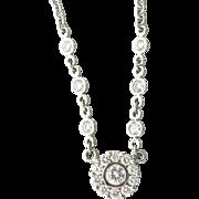 Lovely 18K White Gold Diamond Pendant Necklace