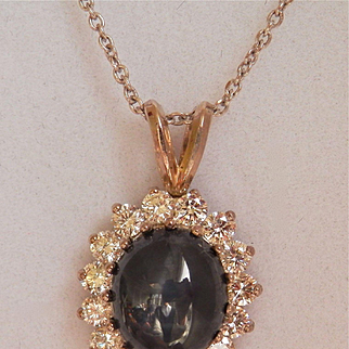 ON HOLD Beautiful Estate 14K Gold 4.00+ Star Sapphire Diamond Halo Pendant