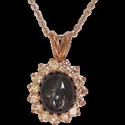 ON HOLD Beautiful Estate 14K Gold 4.00+ Star Sapphire Diamond Halo Pendant