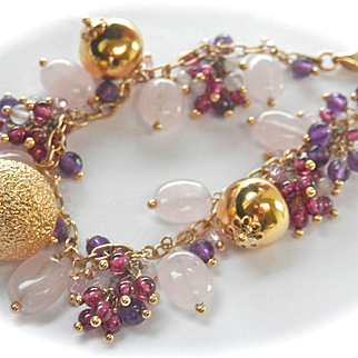 Beautiful Estate 18K Gold Gemstone Bauble Bracelet