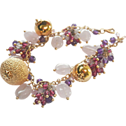 Beautiful Estate 18K Gold Gemstone Bauble Bracelet