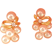 Wonderful Estate 14K Gold Pearl Ribbon Diamond Earrings