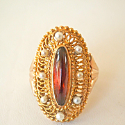Big 14K Gold Citrine Seed Pearl Vintage Ring~6.8 gms.