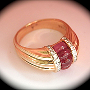 Lovely 14K Gold Scott Kay Carved Pink Tourmaline Diamond Ring