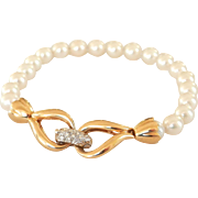 Lovely 14K Gold Cultured Saltwater Pearl Diamond Clasp Bracelet