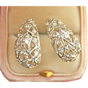 Sparkling Estate 0.70 cts. Diamond Platinum J-Hoop Earrings