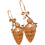 Beautiful Victorian Etruscan Revival Gold-Filled Amphora Earrings