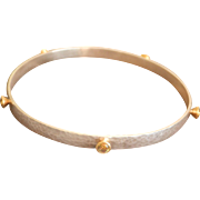 Sleek GURHAN Hammered Silver 24K Gold Peridot Bracelet